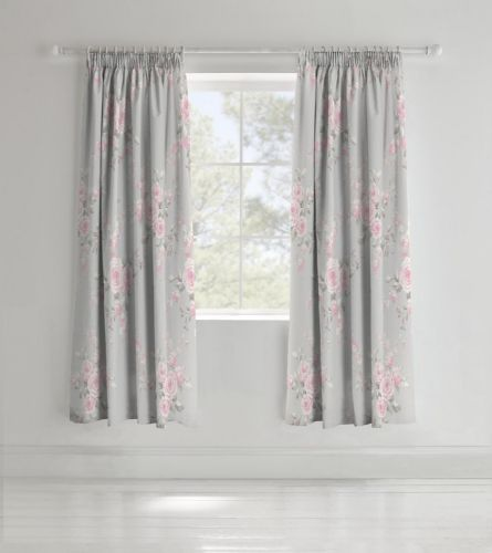 Catherine Lansfield Canterbury Grey Pencil Pleat Curtains